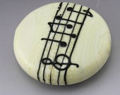 Ivory Cream Lentil Focal Music Note Manuscript Black Lampwork Bead Handmade Glass Heather Behrendt  SRA
