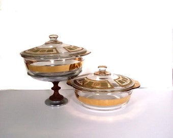2 Georges Briard Casserole Dishes / Anchor Hocking Fire King / 60s Vintage Dishware Green n Gold
