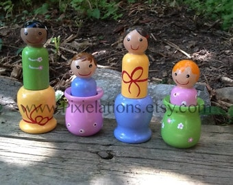 Friends Matching Game, Hand Painted Wooden Peg Dolls