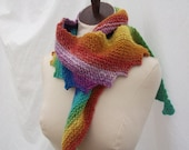 Rainbow plus asymmetrical scarf, hand knit, machine washable, reduced and ready to ship!