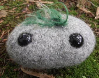 Rock plush toy, hand knit and felted wool rock, rock stuffed animal, stone toy, rock toy, elemental earth plush, earth toy, made to order