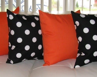 Black and White Polka Dot and Sundeck Orange Outdoor Throw Pillows - 4 Pack Free Shipping