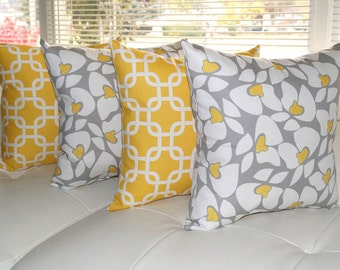 Premier Prints Gotcha Chain Link Corn Yellow Helen Storm Gray & Yellow Throw Pillows - Set of 4 - Free Shipping