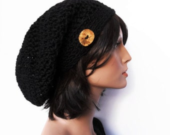 Crochet Slouchy Beanie Hat - Handmade Charcoal Black Hat - Button Tab Slouchy Hat Winter Accessories Hemp Wool Made to Order