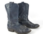 Cowboy Boots Vintage 1980s Tony Lama Distressed Blue Roper Leather Flat