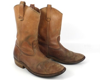 Distressed Brown Boots Leather 1980s Roper men's size