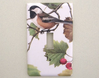 Single chickadee bird with red berries light switch cover switchplate