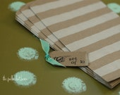 kraft striped bags, set of 10