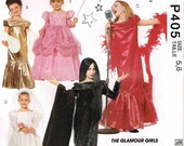 Girls Glamour Dress Princess Brides Gown Elvira and Singer Halloween Costume McCalls P405 6154 Child Sewing Pattern Children Size 5 6
