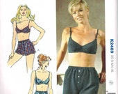 Bra and Boxer Shorts Sewing Pattern Kwik Sew 2489 Undergarment Bust 32 34 36 38 Cup Size  A, B, C Misses