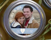 Photo Mason Jar Labels or Envelope seals 2 inch round sticker custom text and photograph wedding favors, photo save the date, gift labels