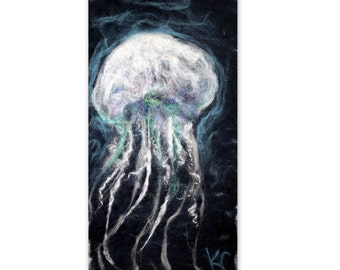 SALE...JELLYFISH Art Needle Felt Fiber Wool Painting Wall Hanging Tapestry 10x20 Handmade