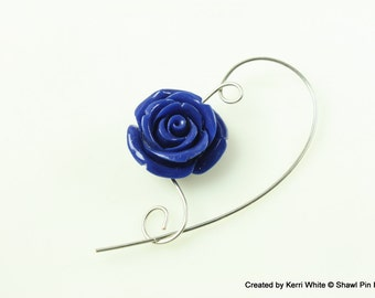 Royal Blue Rose Shawl Pin, Scarf Pin, Brooch - Rose Pin, Flower Pin, Jewelry Brooches, Scarf Accessory, Gift for Gardner, Gift for Knitters