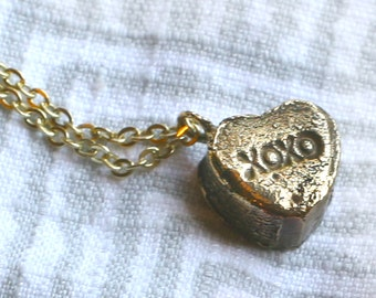 Solid Brass Candy Heart Necklaces