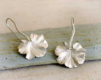 Geranium leaf sterling silver Earrings