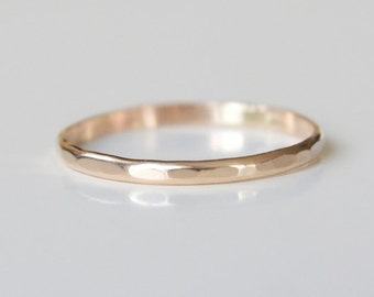 14k Solid Gold Textured Ring Recycled Wedding Band Dainty Modern Shiny Finish