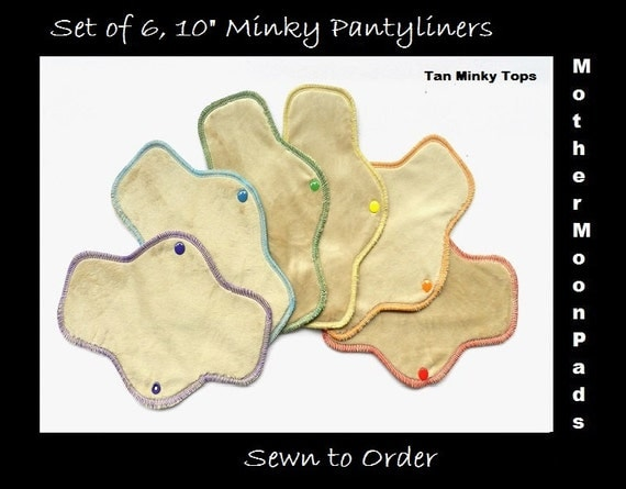 "Neutral RAINBOW Long Pantyliner Set - 6, 10"" Minky Liners by MotherMoonPads"