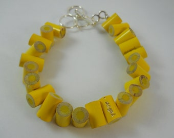 Colored Pencil,  Beaded Bracelet, Jewelry, Charm Bracelet, Teacher Artist Creative Gift, Adjustable, Toggle, Yellow, Lemon