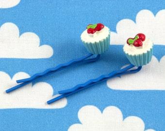 Pair of Kawaii Cupcake Bobby Pins - Blue