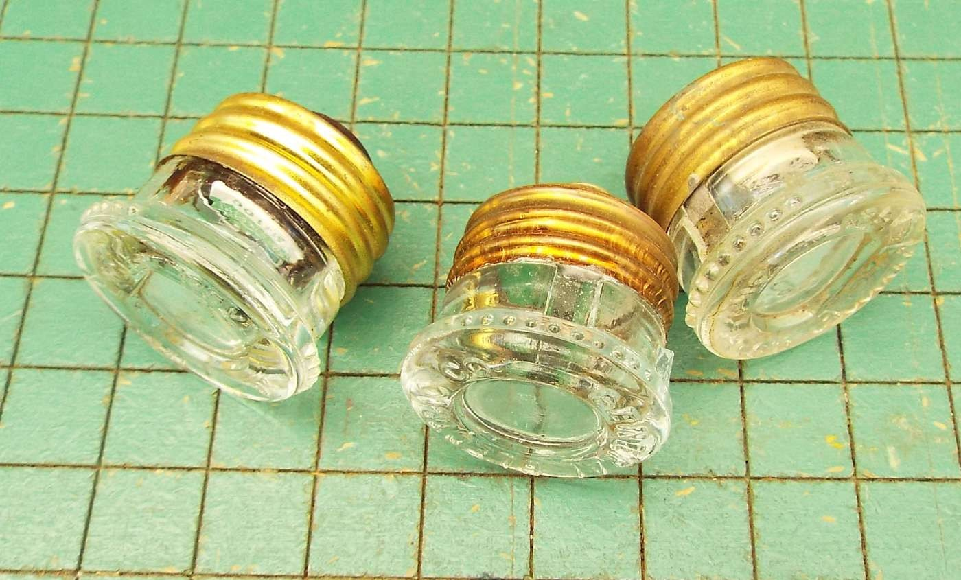 3 vintage glass fuses old house electrical fuse old screw