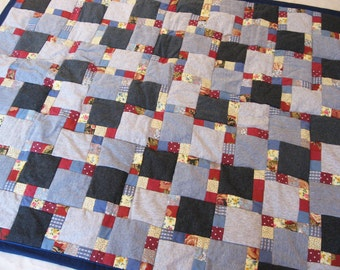 Baby Quilt Size 40 x 34 Grey Blue Red Yellow patchwork