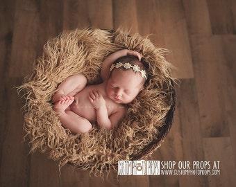 CLEARANCE-Hay Tan Long Sheep Faux Flokati Fur Newborn Photo Props,Artificial Fur,Newborn Baby Photography Props,Basket Stuffer Blanket,Long