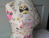 Pink owl dress form jewelry display