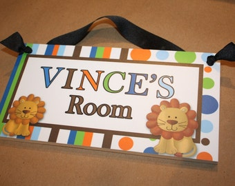 Blue and Green Polka Dots and Stripes Lion Jungle Boys Bedroom Baby Nursery DOOR SIGN Wall Art DS0395