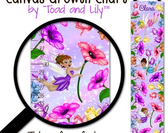 Canvas Growth Chart Fairy Garden Pixies Girls Bedroom Baby Nursery Wall Art GC0079
