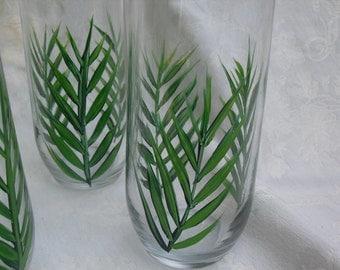 Set of four OOAK Fern Drinking Glasses/ set of 4/ferns/nature/woodland