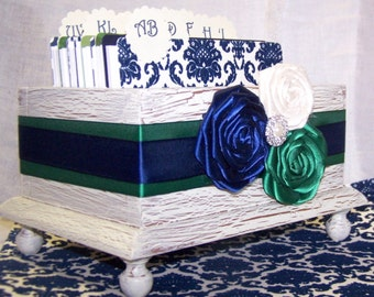 GUEST Book Box, Advice Box, Navy Blue, Green, Ivory Box, Wooden Box, Damask, Custom Colors