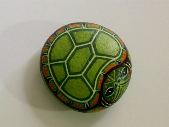 Turtle Painted On A Rock Makes Gift Craft Ideas Ooak 3d Garden