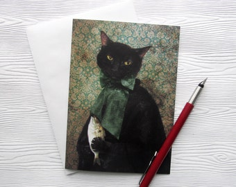Rococo Cat Funny Greeting Card Black Cat Stationery 5x7 Blank Card - Lady Jigger, Case of the Missing Fish
