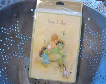 Amazing Unopened Package of Vintage Hallmark Baby Announcements