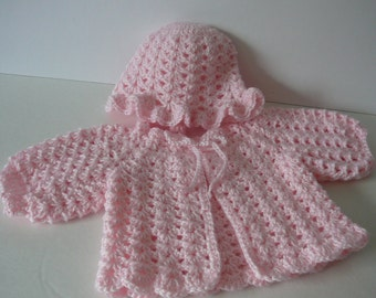 Preemie Crocheted Set/Baby Girl/Cardigan/Hat/Pink             Size Premature  to Newborn              READY TO SHIP