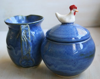 Handmade Sugar Bowl and Creamer Set, Chicken Sculpture Knob on Lid Blue Pottery Made in USA Ready to Ship