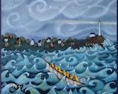 Pull For The Shore!  a Nautical Lighthouse Ocean Rescue Faith Contemporary Folk art PRINT by Deborah Gregg