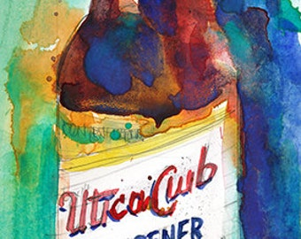 Beer UTICA CLUB  Archival or Giclee Print from Original Watercolor Painting - Bar Decor - Man Cave