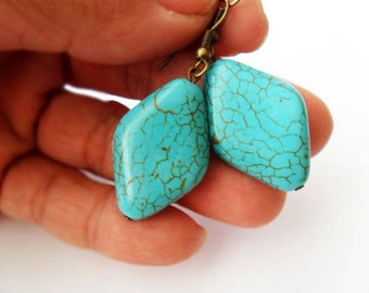 Simple Everyday Diamond Shaped Turquoise Stone Drop Earrings