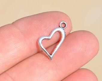 10  Silver Open Heart Charms SC2182