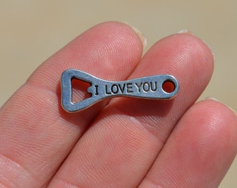 5 Silver I Love You Bottle Opener Charms SC2981
