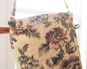 Tapestry Tote - Medium Size Tote - Cross Body - Long Handle Bag - Nostalgic Tapestry Bag with flower design