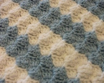 Diagonal Striped White and Blue Baby Blanket