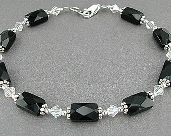 Crystal & Faceted Black Onyx Anklet - Black Onyx Ankle Bracelet, X-Small to Plus Size Anklet or Plus Size Ankle Bracelet, Sizes 9-14 Inches