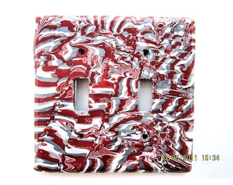 Double Switchplate, Toggle Switchplate, Electric Switch Plate with Red, White and Silver Pattern