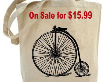 Canvas tote bag - Recycled Tote bag  - Antique Big Wheel Bicycle