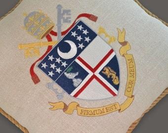 embroidered crest pillow university emblem linen throw pillow sisal rope custom religious Vatican catholic