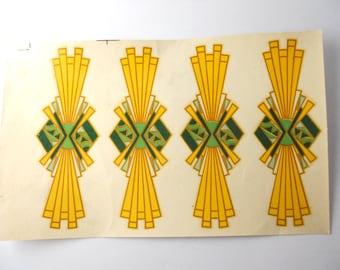 ADVANCE DECALCOMANIA COMPANY- brown, yellow, green architectural motifs, Gatsby, 1920s style, stylized roaring twenties imagery