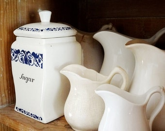 vintage kitchen container, white and blue ceramic sugar canister, made in Germany