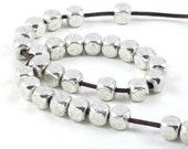 50 silver metal faceted tribal style BEADS with large 2mm HOLE . 5mm x 5mm x 5mm
